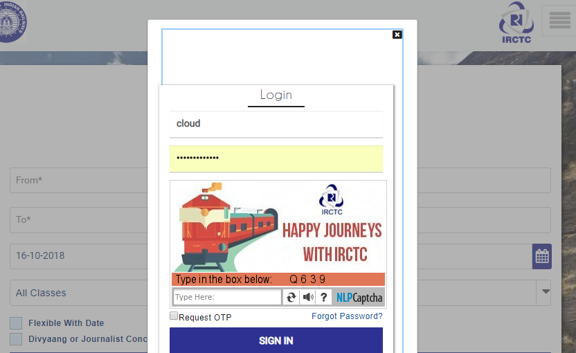 how to login into irctc