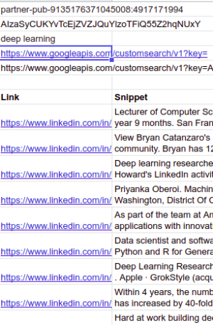 get linkedin search results in google sheets