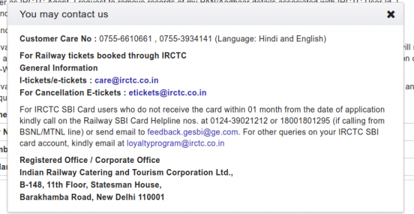 delete irctc account