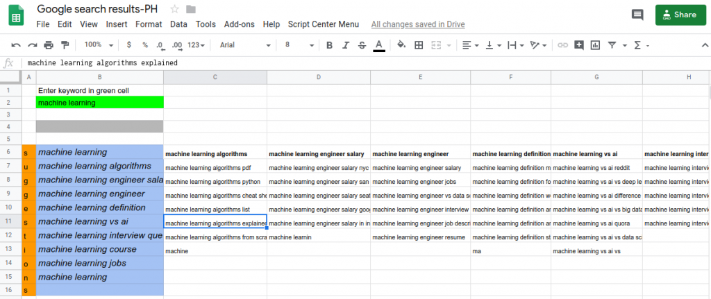 google autocomplete in sheets or excel