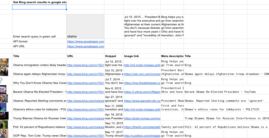 Scrape Bing search into sheets