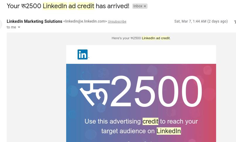 linkedin ad credit