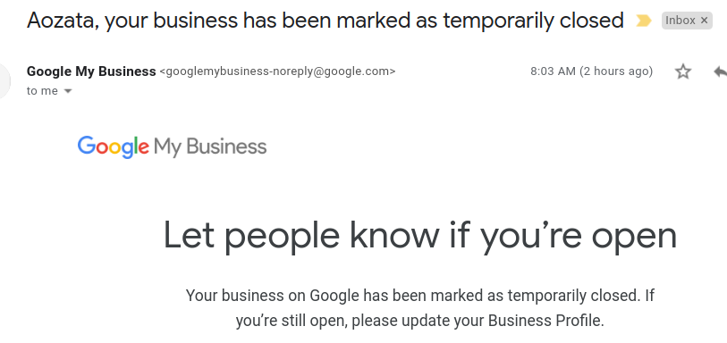 """""""Your business has been marked as temporarily closed"""" - How to mark your Google my Business as open? 2"""