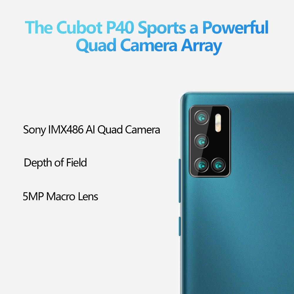 Cubot P40 אחורי Quad מצלמה 20MP Selfie Smartphone NFC 4GB 128GB 6.2 אינץ 4200mAh אנדרואיד 10 dual SIM כרטיס טלפון נייד 4G LTE 3