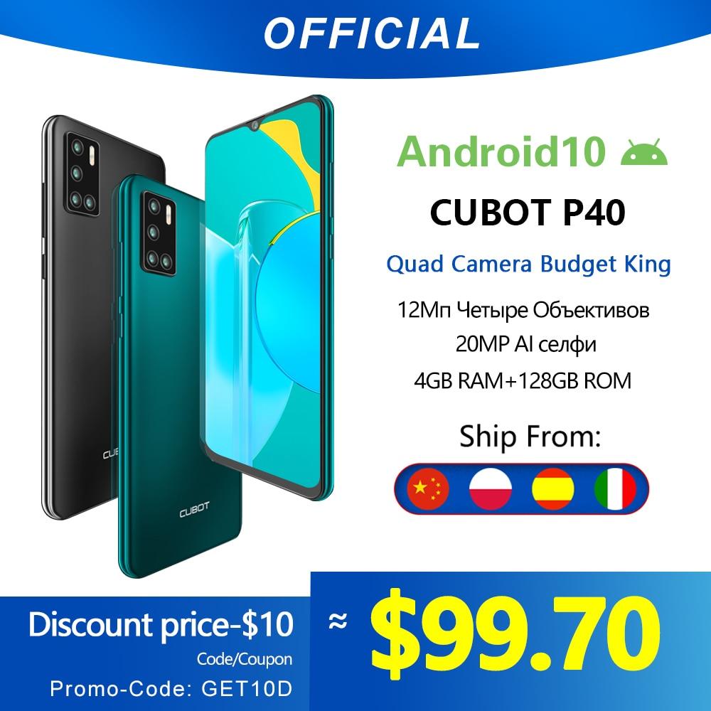 Cubot P40 אחורי Quad מצלמה 20MP Selfie Smartphone NFC 4GB 128GB 6.2 אינץ 4200mAh אנדרואיד 10 dual SIM כרטיס טלפון נייד 4G LTE 1