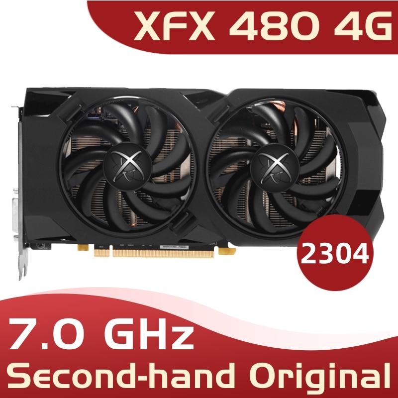 Used original XFX RX 480 4GB 256bit GDDR5 pc gaming graphics cards video card 480 4g 570 4gb xfx rx 480 4g xfx rx 480 4 gb 1