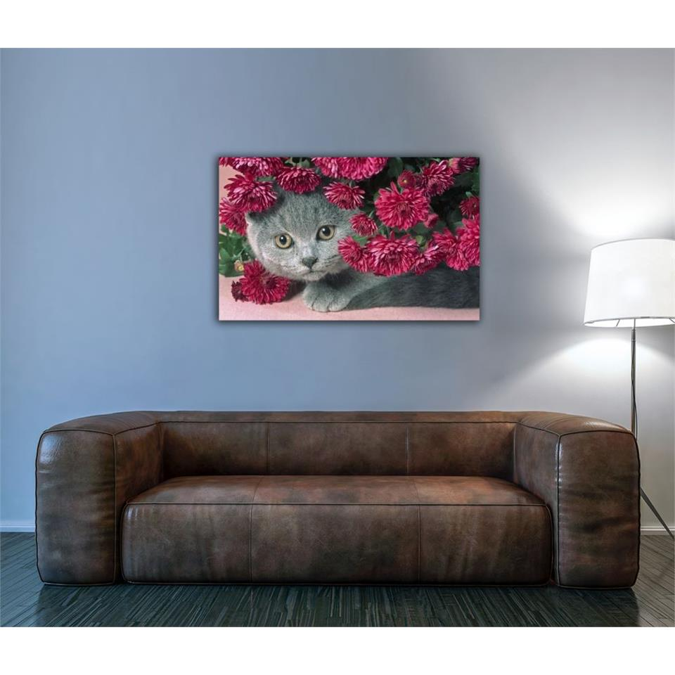 Scottish Fold Cat In Carnations Painting 1