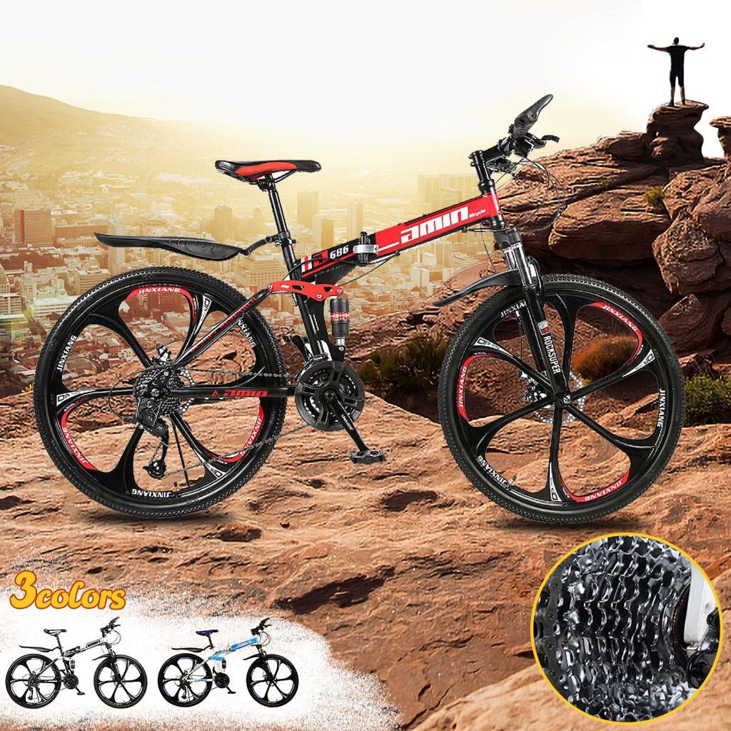 Men 26Inches Bicycle Foldable Mountain Bike 21 Speed Durable Steel Adults Bike Man Cycling sepeda lipat MTB bicicletas vtt 2020 5